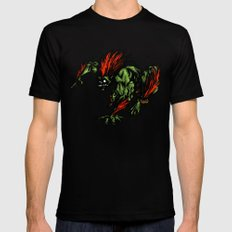 Blanka Rush! - Street Fighter LARGE Black Mens Fitted Tee
