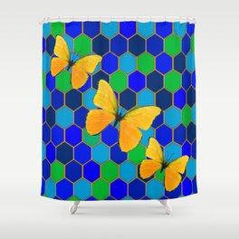 YELLOW BUTTERFLIES ON GREEN-BLUE ABSTRACT Shower Curtain