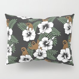 Sloth and Hibiscus Flowers Pillow Sham