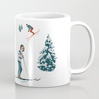 sports Mugs featuring Sports d'hiver by Vannina