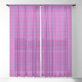 Grid Pattern - magenta and teal - more colors Sheer Curtain