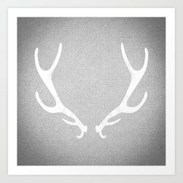 White & Grey Antlers Art Print