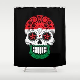 Sugar Skull with Roses and Flag of Hungary Shower Curtain