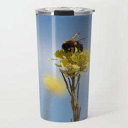 Honey bee on a wildflower Travel Mug