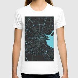 Dublin Ireland Black on Turquoise Street Map T-shirt