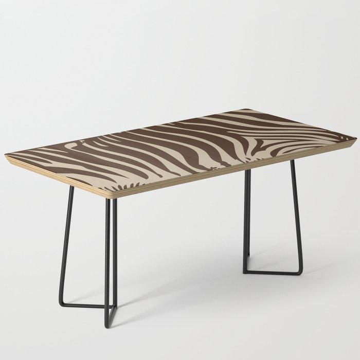 Zebra Stripes | Animal Print | Chocolate Brown and Beige | Coffee Table