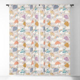 Rainbow Spring Showers Blackout Curtain