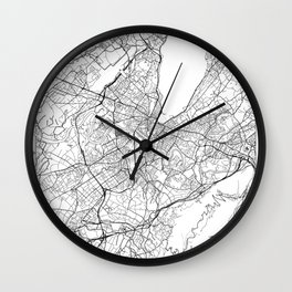 Geneva Map White Wall Clock