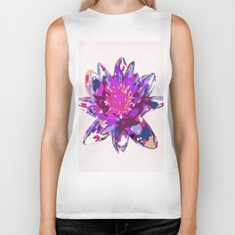 Abstract Painted Lotus Flower Biker Tank