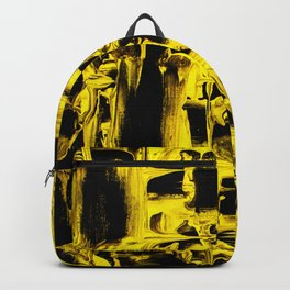 Yellow Abstract Paint Strikes and Lines on Black Canvas Backpack