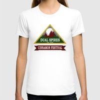 spires T-shirts featuring Psych - Dual Spires Cinnamon Festival by Fried Egg