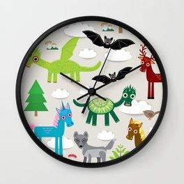 magic pattern with funny dragon bats unicorn horse deer bird wolf. illustration Wall Clock