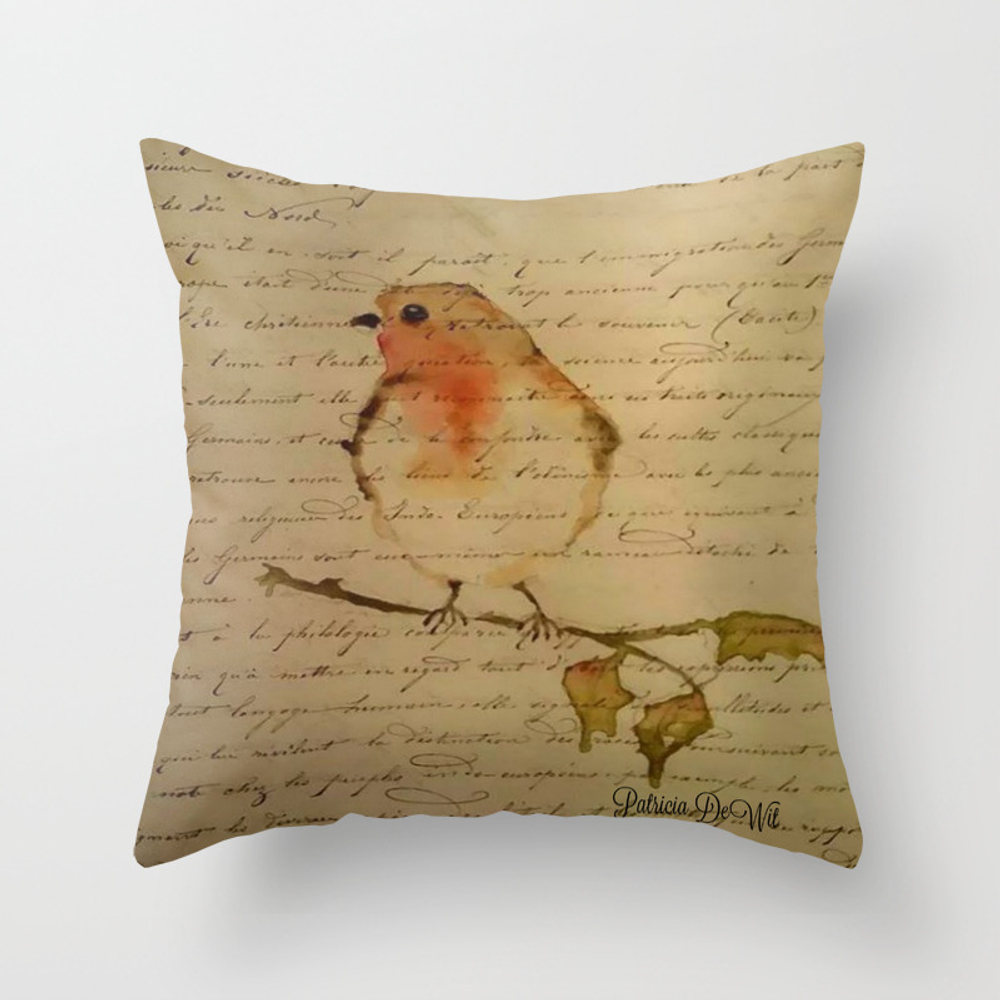 Robin Redbreast Throw Pillow by Patridew (PLW8055540) photo