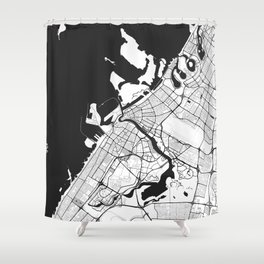 Dubai City Map Gray Shower Curtain
