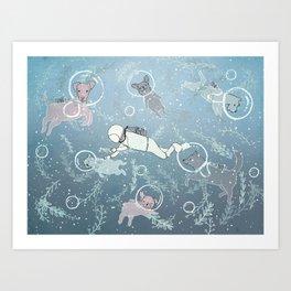 Scuba Dogs Art Print