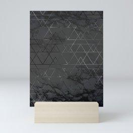 Silver Platinum Geometric Black Mable Triangle Pattern Mini Art Print