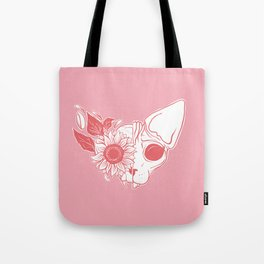 Millennial Pink and Coral Sunflower Sphynx Cat Skull - Hairless Kitty Floral Art Tote Bag