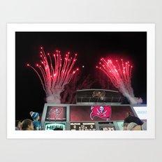 Tampa Bay Bucs fireworks Art Print