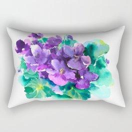 Violet Flowers  Sainpaulia African Violets violet purple yellow floral decor Rectangular Pillow