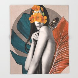 Tropical Girl 5 Throw Blanket