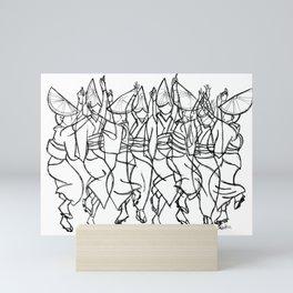 Japanese Awa Dancers  Abstract Monochromatic Mini Art Print