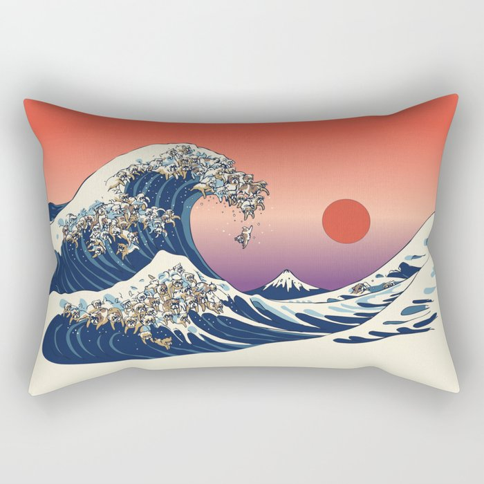 The Great Wave of English Bulldog Rectangular Pillow