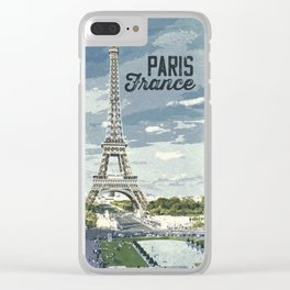 Paris, France / Vintage style poster Clear iPhone Case