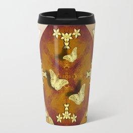 Gold butterflies and flowers on copper mandala Travel Mug
