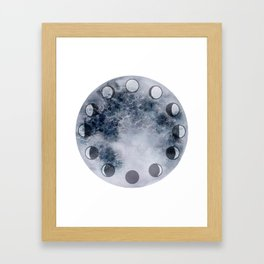 Lunar Phase Clock Framed Art Print