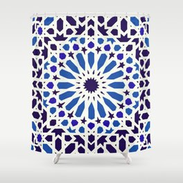 V19 Epic Light Blue Traditional Moroccan Pattern Design . Shower Curtain