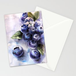 Watercolor Blueberries - Food Art Stationery Cards