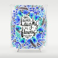 waldo Shower Curtains featuring The Earth Laughs in Flowers – Turquoise & Blue by Cat Coquillette