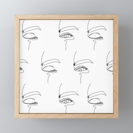 Line eyes Framed Mini Art Print