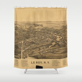 Aerial View of Le Roy, New York (1892) Shower Curtain