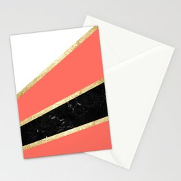 Living Coral, White, Black Marble and Gold Stripes Glam #1 #minimal #decor #art #society6 Stationery Cards