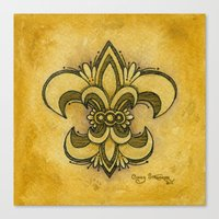 fleur de lis Canvas Prints featuring Michelle Fleur de Lis by Cindy Strecker