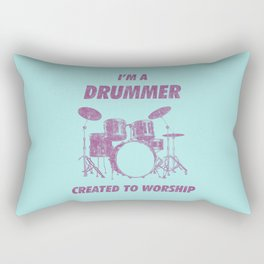 I'm Drummer Created To Worship Funny Drums Vintage Drumming Distressed Rectangular Pillow