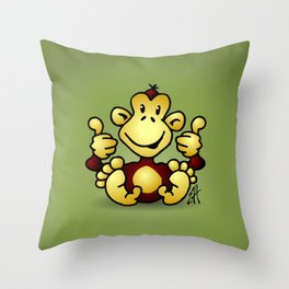 Manic Monkey with 4 thumbs up Throw Pillow
