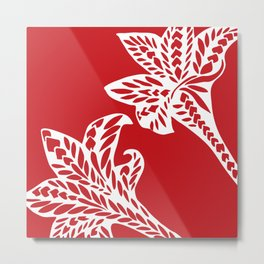 Retro Red Chic Polynesian Tribal Geometric Graphic Floral Tattoo Metal Print