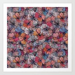 Gouache Pansy Pattern Art Print