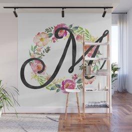 Floral M Monogram Wall Mural