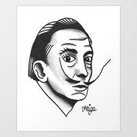 dali Art Prints featuring Dali by @VEIGATATTOOER