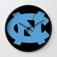 north carolina Wall Clocks featuring NCAA - North Carolina Tarheels by Katieb1013