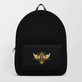 Cross with Golden Wings Backpack
