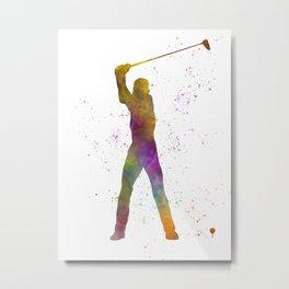 Man practicing golf in watercolor 04 Metal Print