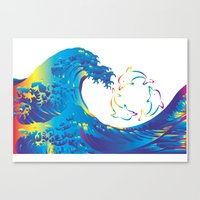 hokusai Canvas Prints featuring Hokusai Rainbow & rotating dolphins_D by FACTORIE