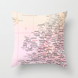 Rose Word Map Europe Throw Pillow