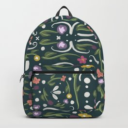 Green and White Hand Painted Bohemian Flower Design Backpack