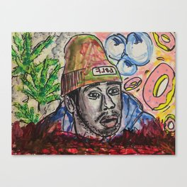 tyler,rapper,colourful,colorful,poster,wall art,fan art,music,hiphop,rap,legend,shirt,print Canvas Print