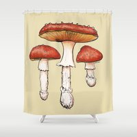 mushrooms Shower Curtains featuring Mushrooms by CHAR ODEN